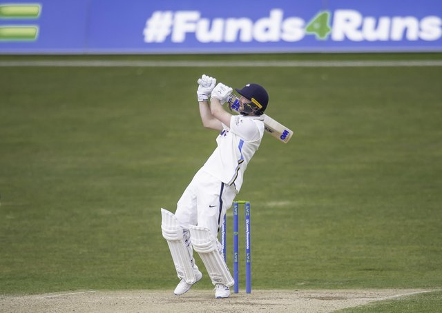 Maximum effort: Adam Lyth hits a six in his match-saving 115 not out against Glamorgan. Picture by Allan McKenzie/SWpix.com