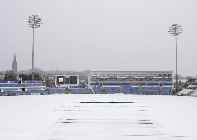 Snow play: Headingley stadium covered in snow on Saturday. Picture: Allan McKenzie/SWpix