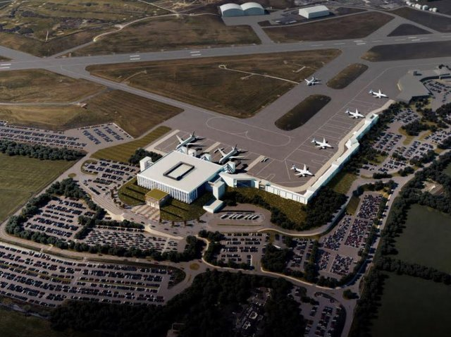 An artist's impression of the proposed terminal at Leeds Bradford Airport.