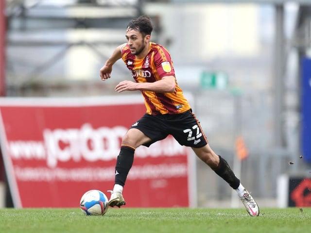 RETURN: Bradford City midfielder Levi Sutton