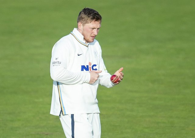 Chilly start: Dom Bess in action for Yorkshire at Headingley, where snow stopped play. Picture: Allan McKenzie/SWpix
