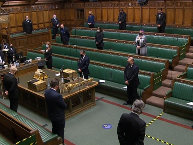 MPs observing a minute's silence to remember the life of the Duke of Edinburgh in the House of Commons, London. Photo: PA