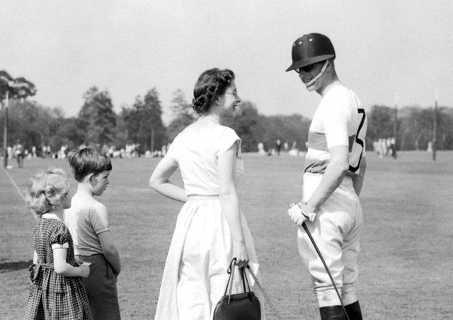 Prince Philip (right) was a great polo enthusiast - this picture with the Queen comes from 1956.