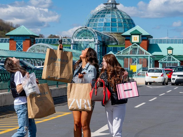Members of the public returned yesterday to Meadowhall shopping centre, Sheffield. Pictured (left to right) Sisters Katie Snow,15, Abi Snow, 15, and Danielle Snow, 18, of Scunthorpe, celebrating shopping once again.