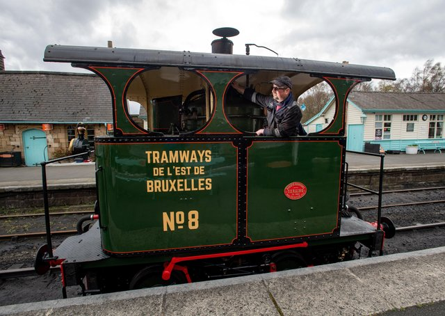 Paul 'Piglet' Middleton and his award winning restoration of a 1890 Brussels steam tram named Lucie, Cockerill Vertical Boiler steam locomotive, Grosmont Station.8th April 2021.  Picture Bruce Rollinson