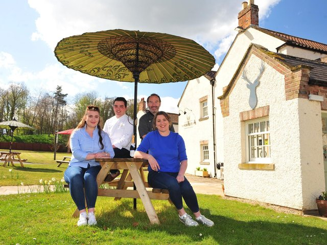 Dave and Maggie Matthews, and daughter Rose, and Rose's fiancé Jack, who opened The Staveley Arms in August last year amid the pandemic.