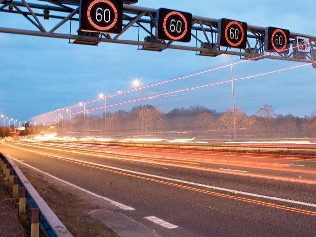 A stretch of 'smart' motorway near Sheffield.