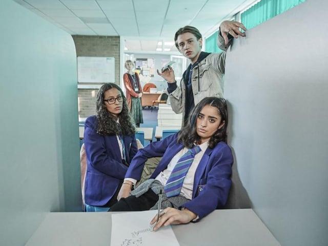 Robyn Cara, Ryan Dean and Yasmin Al-Khudhairi appear in Channel 4's new series of Ackley Bridge.
