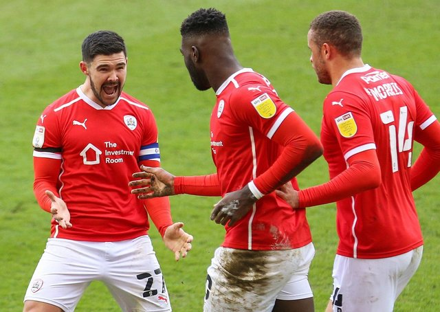Celebrations: Barnsley's scorers against Middlesbrough, Alex Mowatt and Daryl Dike. Picture: PA