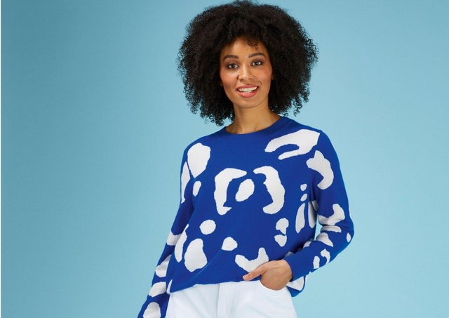 Cashmere relaxed crew neck sweater in bayou/animal, £229, at Loop Cashmere.