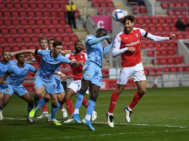 Rotherham United's Matt Crooks gets ahead of Coventry City's defence in Thursday evening's game. Picture: Jonathan Gawthorpe.