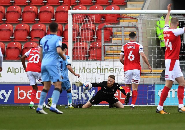Rotherham's Viktor Johansson saves from Coventry's Callum O'Hare. Picture: Jonathan Gawthorpe