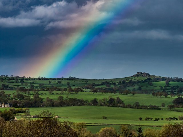 A rainbow grazes Yorkshire countryside
