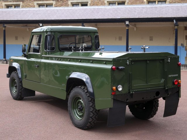 The Jaguar Land Rover that will be used to transport the coffin of the Duke of Edinburgh at his funeral on Saturday.