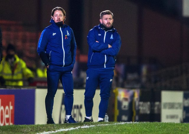 Bradford managerial duo Connor Sellars and Mark Trueman. Picture Bruce Rollinson