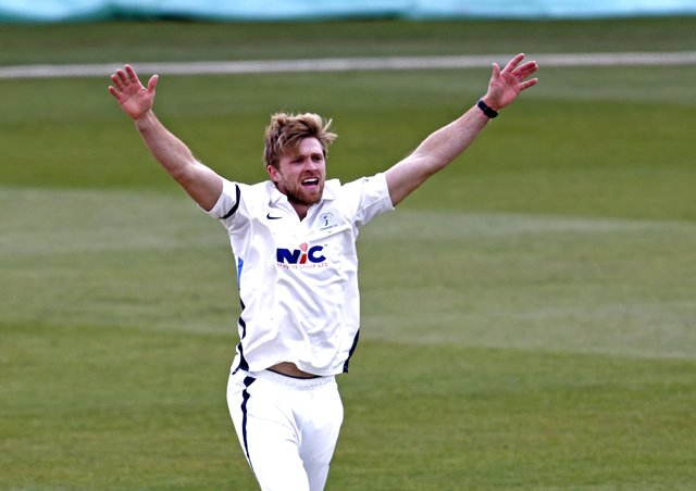 Yorkshire's David Willey appeals during Day 2 of the LV=Insurance County Championship game between Kent and Yorkshire at the Spitfire Ground, Canterbury (Picture: Max Flego)