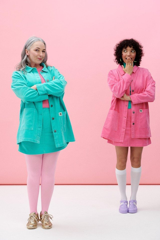 SEVEN LOOKS OF SUMMER - COLOUR CO-ORDS: Organic cotton corduroy skirts, £30, and jackets, £50, in Bubblegum Pink and Spearmint Turquoise, from Lucyandyak.com.
