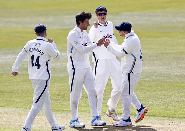 Yorkshire's Duanne Olivier is congratulated after bowling Zak Crawley during Day 2 of the LV=Insurance County Championship game between Kent and Yorkshire at the Spitfire Ground, Canterbury (Picture: Max Flego)