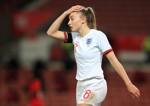 England's Leah Williamson shows her frustration during the women's international friendly with Canada. Picture: PA