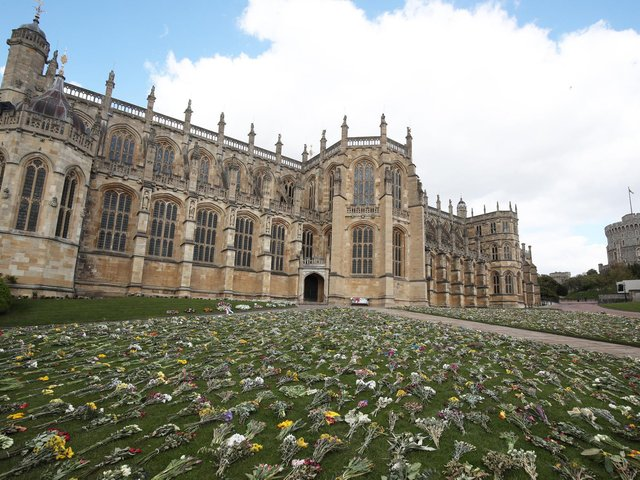 Flowers outside St George's Chapel, at Windsor Castle