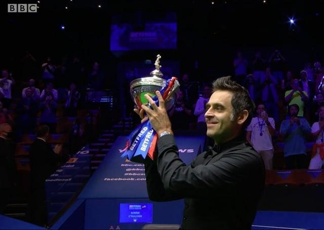 Ronnie O'Sullvan celebrates winning last year's World Championship. Picture: BBC
