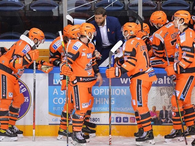 NOW HEAR THIS: Head coach Aaron Fox instructs his Sheffield Steelers players at the National Ice Centre. Picture: Dean Woolley.
