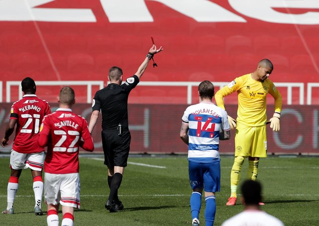 Queens Park Rangers goalkeeper Seny Dieng is sent off during the Sky Bet Championship match at Middlesbrough. (Picture: PA)