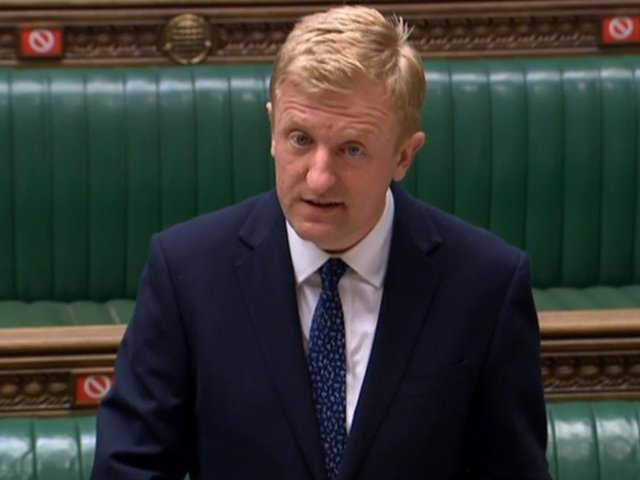 Culture Secretary Oliver Dowden speaking in the House of Commons, London, on the proposed European Super League. Photo: PA