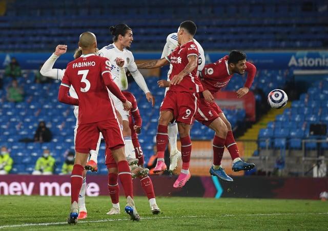Leeds United's Diego Llorente (hidden) scores the hosts' equaliser at Elland Road. Picture: Simon Hulme