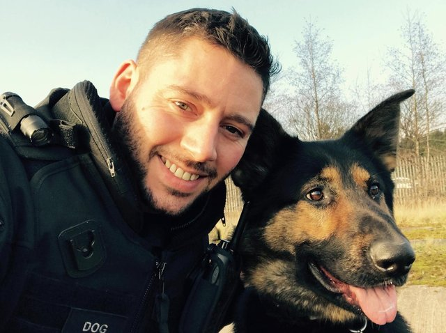 PC Steve Matthews with police dog Neo from Humberside Police.