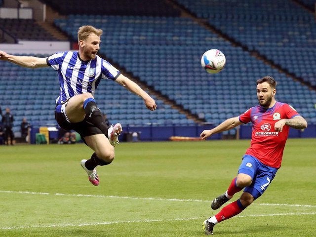 Tom Lees showed his acrobatic skills in Sheffield Wednesday's home game with Blackburn. Picture: PA.