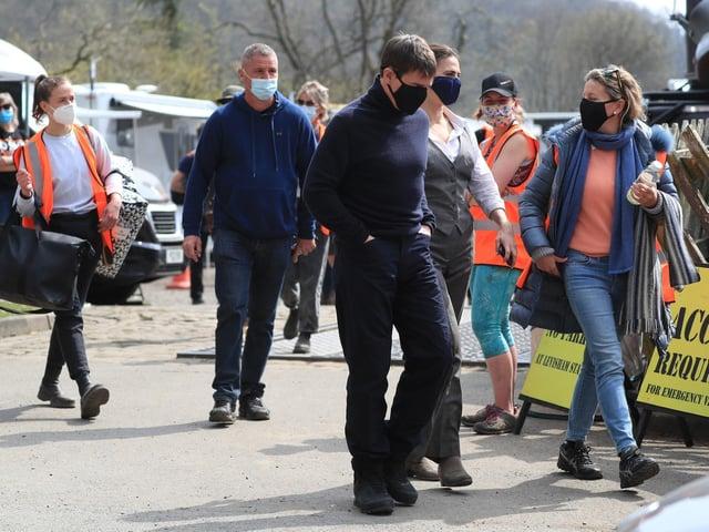 Tom Cruise arrives on set