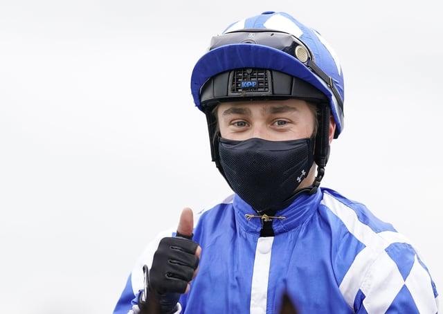 Benoit de la Sayette after riding Haqeeqy to win The Unibet Lincoln at Doncaster Racecourse.