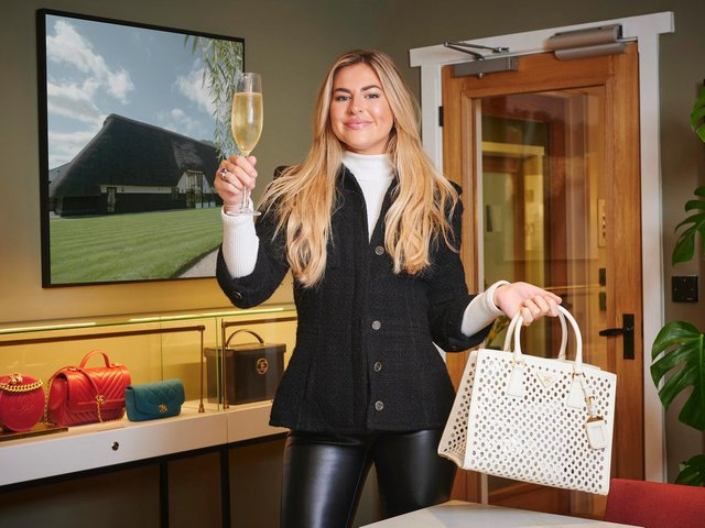Rebecca Dransfield with the replica of her beloved stolen Prada handbag. The story can be seen in Second Hand for 50 Grand on Channel 4.