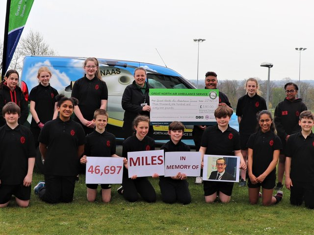 The school has raised more than £6,000 - with 50 per cent going towards the Great North Air Ambulance Service. Photo credit: Submitted picture