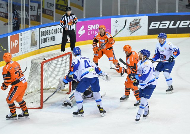 FINDING HIS RANGE: Brendan Connolly scores the first of his two goals in Tuesday night's win over Coventry Blaze, who Sheffield Steelers face again on Thursday evening. Picture courtesy of Dean Woolley.