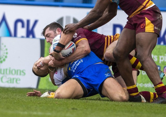 BACK IN THE GAME: Leeds Rhinos' Ash Handley was injured in the tackle Huddersfield Giants' Jake Wardle.  Picture:Tony Johnson