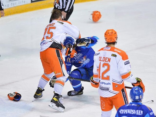 IN THE BOX: Robert Dowd was handed a five-minute fighting major for tussling with Coventry's Max Krogdahl in the third period, the defenceman also getting two minutes for cross-checking. Picture courtesy of Dean Woolley.