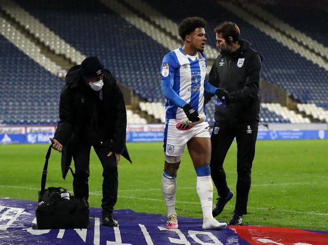 SETBACK: Josh Koroma leaving the field after injuring his hamstring against Sheffield Wednesday in December. He is now back to fitness