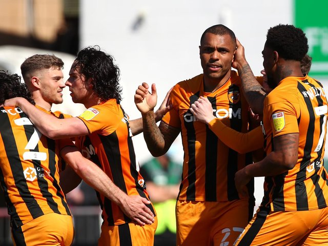 GOAL: Josh Magennis celebrates opening the scoring from a cross by Lewie Coyle (left)