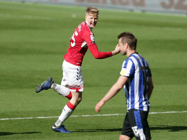 DECISIVE: Middlesbrough's Josh Coburn celebrates scoring their side's second goal of the game during the Sky Bet Championship match at the Riverside Stadium. Picture: PA Wire.