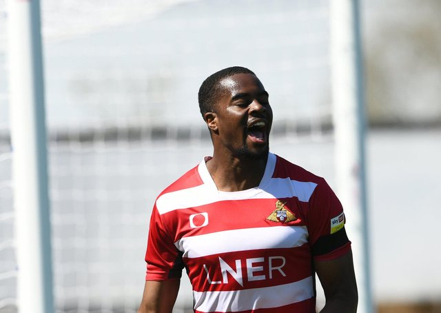 Looking to the future: Doncaster striker Fejiri Okenabirhie.  Picture Howard Roe/AHPIX LTD