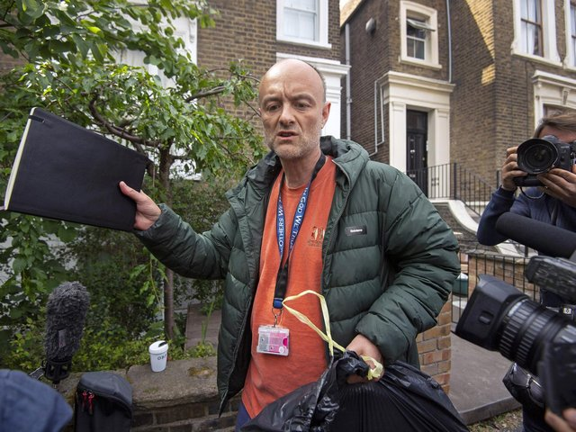 File photo dated 24/05/20 of Prime Minister Boris Johnson's senior aide Dominic Cummings leaves his north London home. Photo: PA