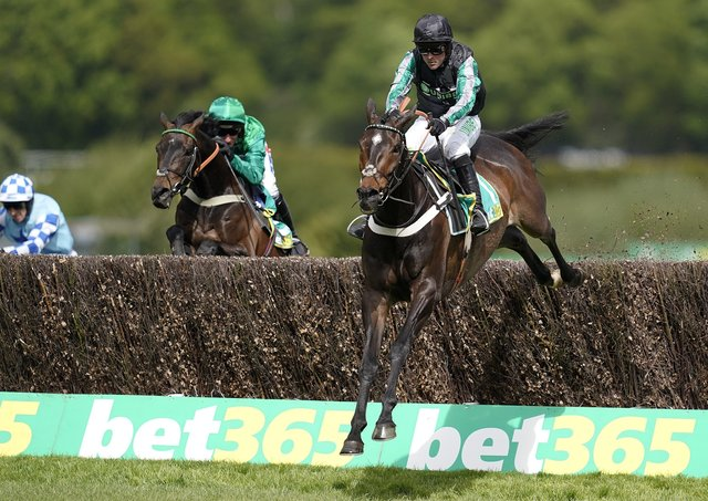 Nico de Boinville riding Altior clears the last to win The bet365 Celebration Steeple Chase at Sandown in April 2019 in Esher, England. Picture: Alan Crowhurst/Getty Images