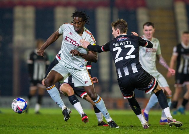 On target: Bradford City's Clayton Donaldson, left, scored in the 2-1 defeat by Port Vale. Picture Bruce Rollinson