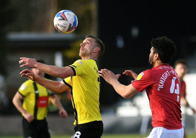 Decent return: Harrogate Town forward Jack Muldoon has scored 14 goals in his first Football League season. 
