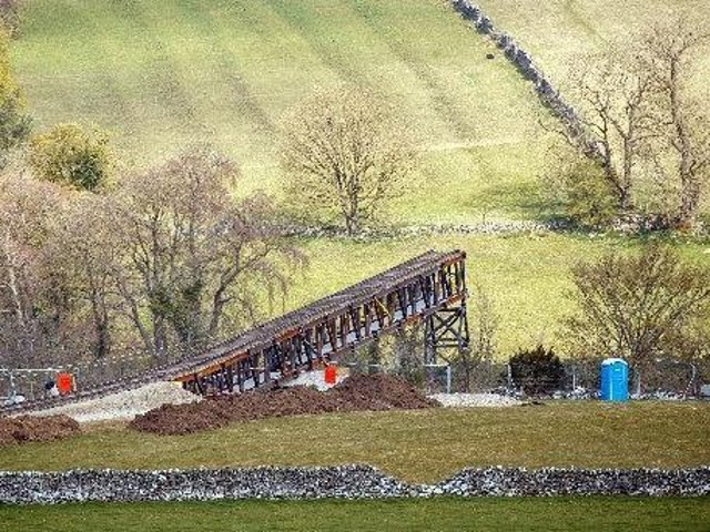 A train track at a quarry near Stoney Middleton in Derbyshire, that has been reported as a location for the latest Mission: Impossible film.Tom Cruise has been filling action scenes on top of a moving mock steam locomotive in the North York Moors in recent days.