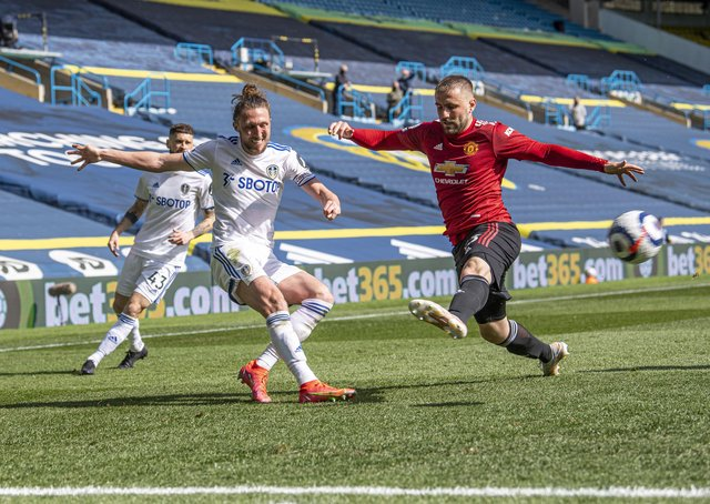 Leeds United's Luke Ayling gets to the byline as Manchester United's Luke Shaw closes in. Picture: Tony Johnson