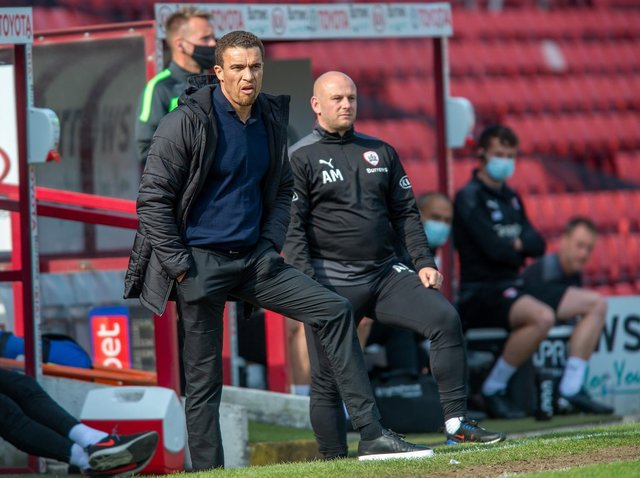 Barnsley head coach Valerien Ismael, pictured with Adam Murray in Saturday's home win over Rotherham United.
