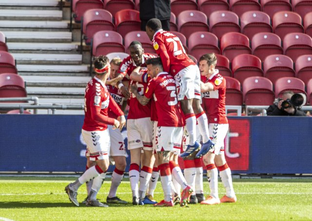 Goal: Boro's Josh Coburn celebrates scoring the second against Sheffield Wednesday. Pictures: Tony Johnson